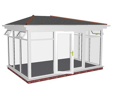 Lean to side hipped full height glass